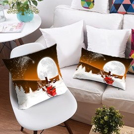 Reindeer Pull Santa's Sleigh on the Snow 3D Printing Polyester Throw Pillow