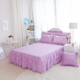 Solid Purple Princess Style Cotton Embroidery Lace Bed Skirt