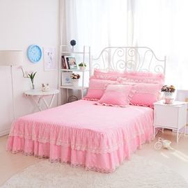 Pink Princess Style Embroidery Lace Cotton Bed Skirt