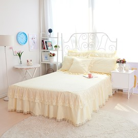 Solid Beige Princess Style Cotton Lace Embroidery Bed Skirt