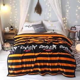 Sport Style Energetic Stripe Young People Flannel Indoor Blanket
