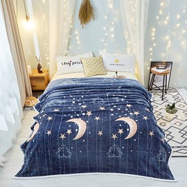 Starry Night Blue Sky Super Soft Worthy Flannel Blanket