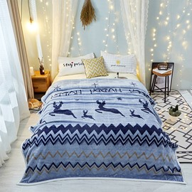 Moose Series-Blue Wave Design Cozy Style For Bed Flannel Blanket