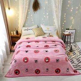 Pink Puppy Cartoon Warm Indoor Flannel Bed Blanket