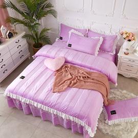 Light Purple Simple Stripes Crystal Velvet Polyester Bed Skirt