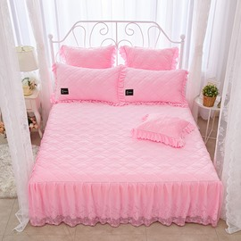 Princess Style Pure Color Pink Lace Crystal Velvet Bed Skirt