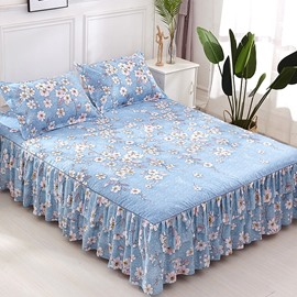 Simple Floral Pattern Printing Blue Polyester 3-Piece Bed Skirt