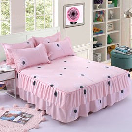 Simple Dandelion Printing Pink Polyester 3-Piece Bed Skirt