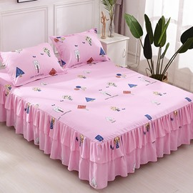 Cartoon Abstract Tree Printing Pink Polyester 3-Piece Bed Skirt