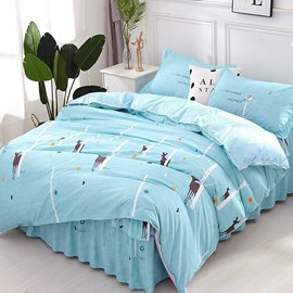 Cartoon Deer and Tree Printing Polyester Blue 3-Piece Bed Skirt