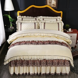 Pure Color Simple Square Design Crystal Velvet Lace Beige Bed Skirt