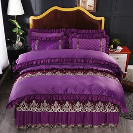 Regular Square Pattern Lace and Crystal Velvet Purple Bed Skirt