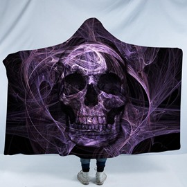 Purple Skull and Smoggy 3D Printing Polyester Hooded Blanket