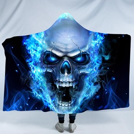 Angry Skull with Blue Light 3D Printing Polyester Hooded Blanket