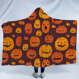 Orange Pumpkin Halloween Printing Polyester Hooded Blanket