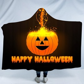 Happy Halloween and Smiling Pumpkin Printing Polyester Hooded Blanket