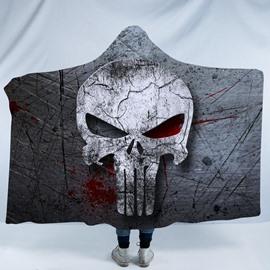 Horrible Grey Skull Printing Polyester Soft Hooded Blanket