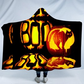 Pumpkin Lantern and Cat Halloween Printing Polyester Hooded Blanket