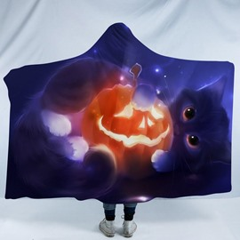 Blue Cat and Pumpkin Lantern Halloween Printing Polyester Hooded Blanket