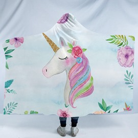 Multi Color Unicorn and Flower Printing Polyester Hooded Blanket