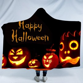Orange Pumpkin Lantern Happy Halloween Printing Polyester Hooded Blanket