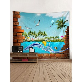 Dolphin and Fish Vacation Time 3D Printing Decorative Hanging Wall Tapestry