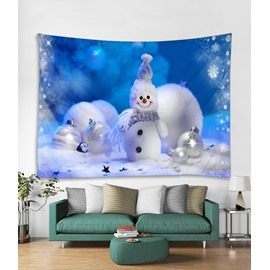 Smiling Snowman Blue Printing Decorative Hanging Wall Tapestry