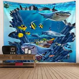 Shark and Fish Ocean World Printing Decorative Hanging Wall Tapestry
