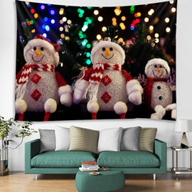 Smiling Snowman and Lights Printing Decorative Hanging Wall Tapestry