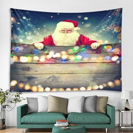 Santa Claus and Lights Printing Decorative Hanging Wall Tapestry
