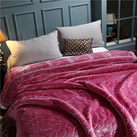 Irregular Shape Fuchsia Soft Flannel Fleece Bed Blanket