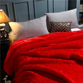 Pure Red Simple Geometric Pattern Flannel Fleece Bed Blanket