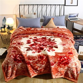 Floral and Crown Printing Brown Flannel Fleece Bed Blanket