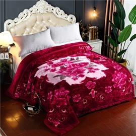 Flower Blooming Printing Flannel Fleece Bed Blanket for Winter