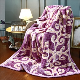 Elegant Purple Geometric Pattern Printing Flannel Fleece Blankets