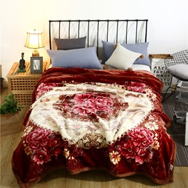 Simple Floral Printing Warm Flannel Fleece Bed Blanket