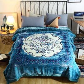 White Flower Printing Lake Blue Flannel Fleece Bed Blanket