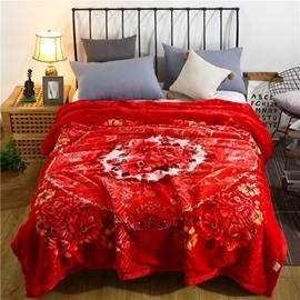 Red Flower and Geometric Printing Warm Flannel Fleece Bed Blanket