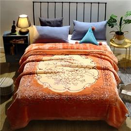 Golden Luxury Floral Pattern Flannel Fleece Winter Bed Blanket