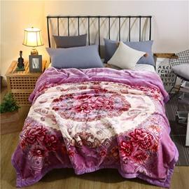 Flower Blooming Printing Elegant Purple Flannel Fleece Bed Blanket