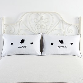 Love and Birds Printed White Couple Pillowcase for Valentine