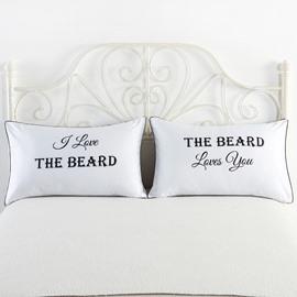 I Love the Beard Printed One Pair of Couple Pillowcase