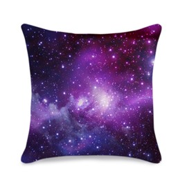 Galaxy Cluster Printed 3D Purple Throw Pillowcase