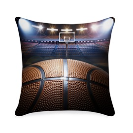 Shooting a Basketball in Empty Basketball Court Printed 3D Throw Pillowcase