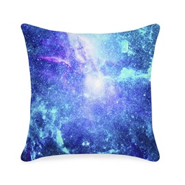 Space Galaxy Printed Fluorescent 3D Blue Throw Pillowcase
