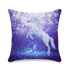Purple Unicorn and Butterfly Printed 3D Throw Pillowcase