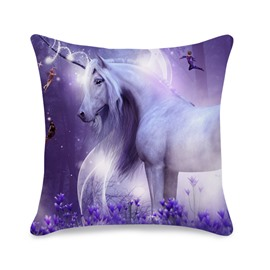 Girl Unicorn 3D Printed Cotton All Season Throw Pillowcase