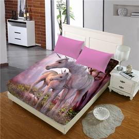 Heart-warming Pink Unicorn Printed 3D Cotton Fitted Sheet