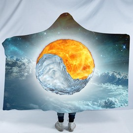 Fire and Water Taiji Yin Yang Pattern Cloud Layer 3D Printing Polyester Hooded Blanket