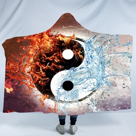 Water and Fire Pattern Taiji Yin Yang Printing 3D Polyester Hooded Blanket